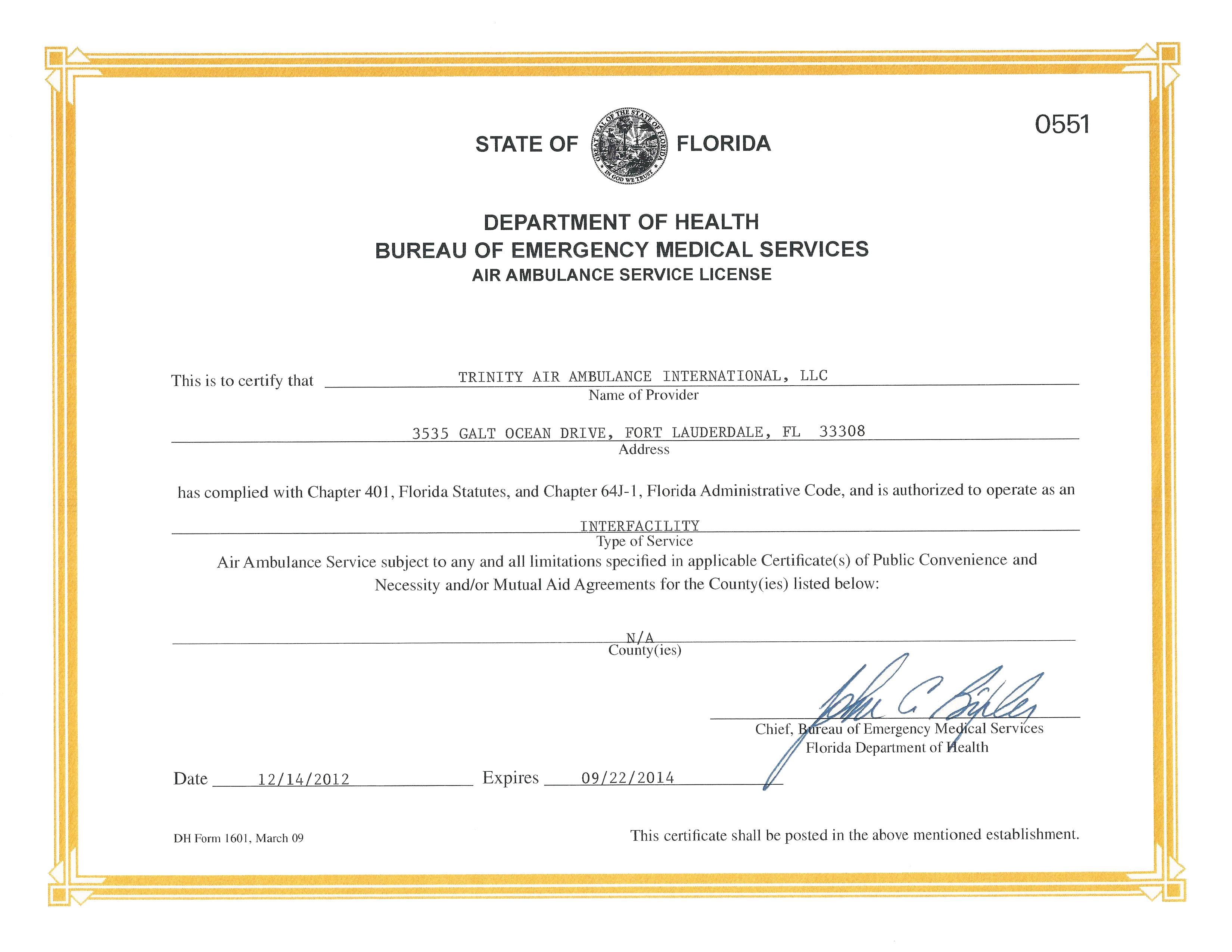 Trinity Air Ambulance Servive License 2012