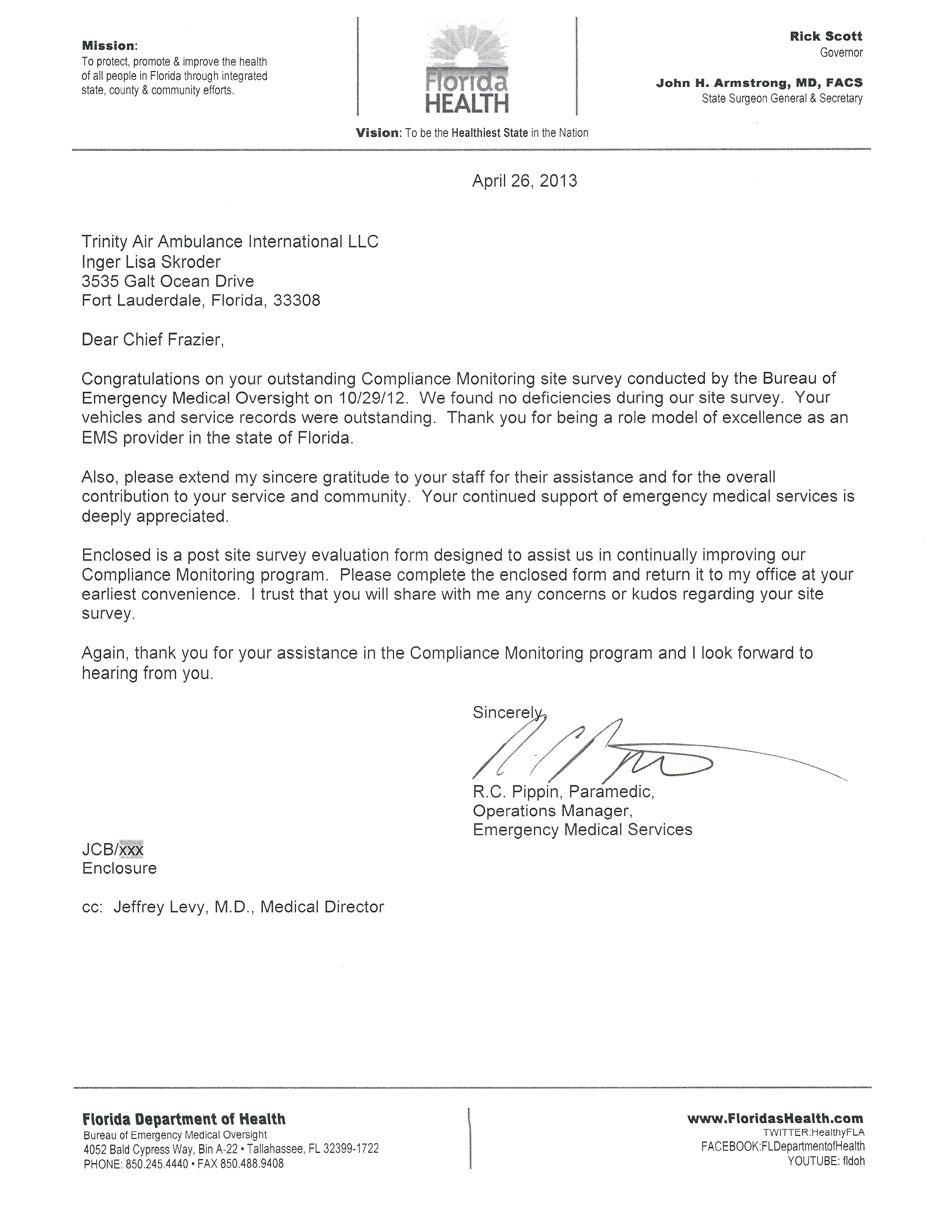 Trinity Air Ambulance International - Outstanding Compliance Letter