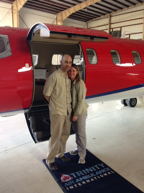 "Darren ""Cos"" & Sara Boarding Trinity Air Ambulance"